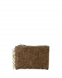 Neiman Marcus Woven Faux Leather Reptile Keychain Pouch Cocoa