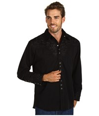 Scully Floral Tooled Shirt Jet Long Sleeve Button Up Black