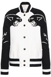 Valentino Leather Trimmed Wool And Cashmere Blend Bomber Jacket Black