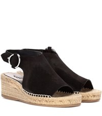 Rag And Bone Calla Suede Raffia Wedge Sandals Black