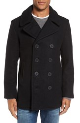 Schott Nyc Men's Embroidered Wool Blend Peacoat