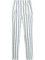 Stella Jean Woven Stripe Trousers White