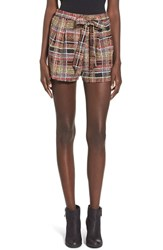 Junior Women's Lush Print Tie Front Woven Shorts