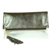 C.Blau Handbags Daria Foldover Clutch Silver Distressed Pewter