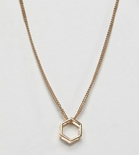 Glamorous Hexagon Shape Pendant Necklace Gold