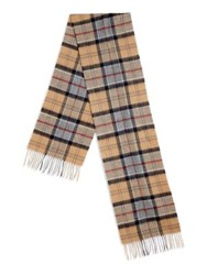 Barbour Tartan Wool And Cashmere Scarf Beige Multi