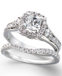 Macy's Certfied Diamond Engagement Ring And Wedding Band Set In 14K White Gold No Color