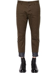 Dsquared 15.5Cm Cotton Twill Pants W Denim Hem