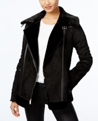 Laundry By Design Faux Shearling Moto Coat Black