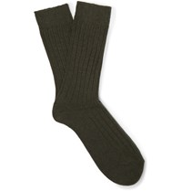 Anderson And Sheppard Ribbed Wool Blend Socks Dark Green