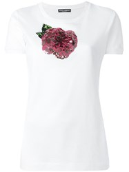 Dolce And Gabbana Sequinned Rose T Shirt White
