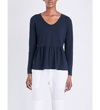 The White Company Cashmere Blend Peplum T Shirt Navy