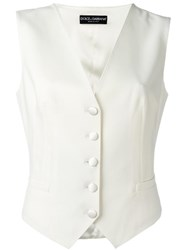 Dolce And Gabbana Fitted Waistcoat White