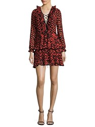 Delfi Collective Kiki Ruffled Lace Up Mini Dress Red Multi