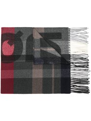 Dsquared2 Logo Checked Scarf Grey