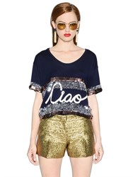 Lanvin 'Ciao' Embellished Cotton Jersey T Shirt