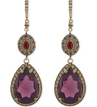 Alexander Mcqueen Jewelled Drop Earrings Purple Brass