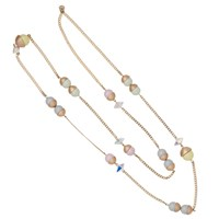 Nadia Minkoff Endless Multi Pearl And Crystal Spike Necklace Pastel Mix Gold