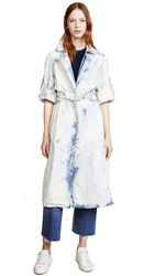 Esteban Cortazar Stretch Denim Trench Coat Bleach