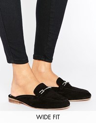 Asos Motivate Wide Fit Suede Mules Black