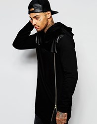 Asos Super Longline Hoodie With Faux Leather Panel And Gold Zip Black