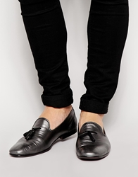 Asos Tassel Loafers In Metallic Leather Silver