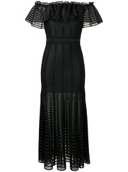Alexander Mcqueen Ruffle Flared Dress Black