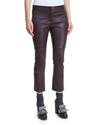 Brunello Cucinelli Leather Cropped Flare Pants Burgundy Red Women's