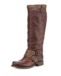 Jenna Studded Tall Moto Boot Dark Brown Frye