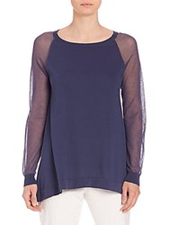Peserico Knit Sheer Sleeve Top Navy
