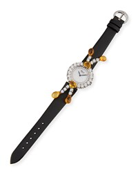 Chopard Copacabana 18K White Gold Diamond And Yellow Sapphire Watch W Leather Strap Women's