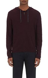 Barneys New York Men's Slub Knit Zip Front Hoodie Dark Purple