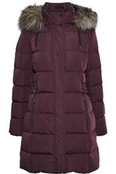 Donna Karan Woman Faux Fur Trimmed Quilted Shell Down Hooded Coat Plum