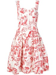 Oscar De La Renta Floral Toile Print Dress White