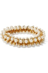Kenneth Jay Lane Gold Tone Faux Pearl Bracelet White