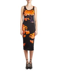 Givenchy Floral Print Jersey Tank Dress Black Orange Black Orange