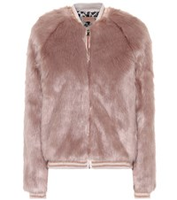Mother The Letterman Faux Fur Jacket Pink