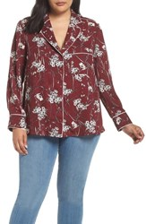 Everleigh Plus Size Piping Detail Pajama Style Top Burgundy Ivory Daisy