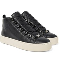 Balenciaga Arena Full Grain Leather High Top Sneakers Black