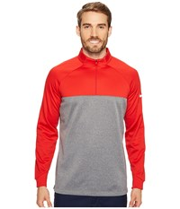 Nike Therma Fit 1 2 Zip University Red Dark Grey Heather White Men's Long Sleeve Pullover Gray