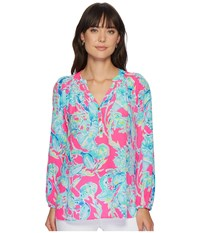 Lilly Pulitzer Elsa Top Raz Berry Lobsters In Love Blouse Multi