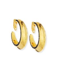 Jose And Maria Barrera 24K Gold Plated Hoops With Jet Black Crystals