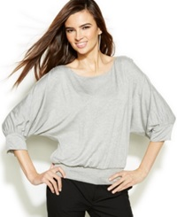 Studio M Dolman Sleeve Blouson Top Light Heather Gray