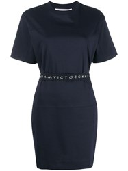Victoria Beckham Logo Waistband Dress Blue