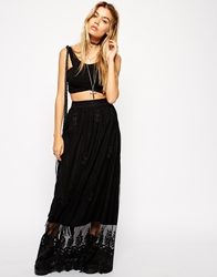 Asos Embroidered Maxi Skirt In Lace Black