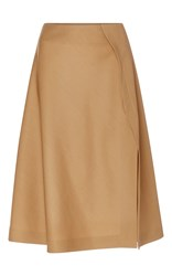 Rochas Wool A Line Skirt Tan