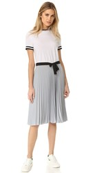 Red Valentino Colorblock Pleated Dress White Aluminum