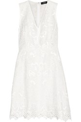 Theory Jemion Broderie Anglaise Linen And Cotton Blend Dress White