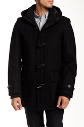 Levi's Long Hooded Toggle Wool Blend Jacket Black