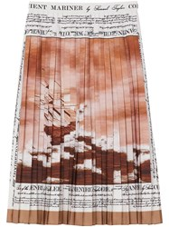 Burberry Mariner Print Pleated Cady Skirt Brown